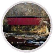 The Wissahickon Creek In Autumn - Thomas Mill Covered Bridge Round Beach Towel