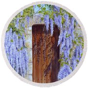 The Wisteria Gate Round Beach Towel