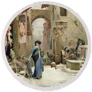 The Wolf Of Gubbio Round Beach Towel by Luc Oliver Merson