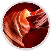 The Woman In The Canyon Round Beach Towel