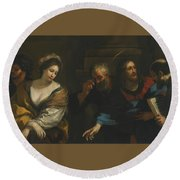 The Woman Taken In Adultery Round Beach Towel