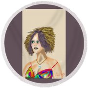 The Woman With Purple Hair Round Beach Towel