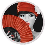 Woman With Paper Fan Round Beach Towel