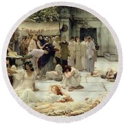 The Women Of Amphissa Round Beach Towel by Sir Lawrence Alma-Tadema