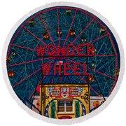 The Wonder Wheel At Luna Park Round Beach Towel