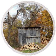 The Wood Shed Round Beach Towel