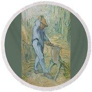 The Woodcutter After Millet Saint Remy De Provence September 1889 Vincent Van Gogh 1853  1890 Round Beach Towel