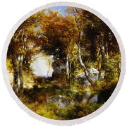 The Woodland Pool Round Beach Towel by Thomas Moran