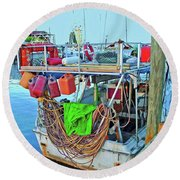 The Work Boat Round Beach Towel