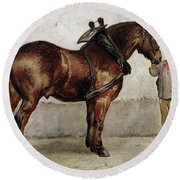 The Work Horse Round Beach Towel by Otto Bache