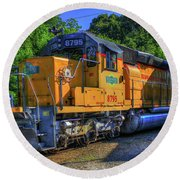 The Workhorse Squaw Creek Southern Rail Road Locomotive Art Round Beach Towel