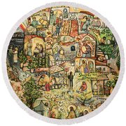 The Works Of Mercy Round Beach Towel