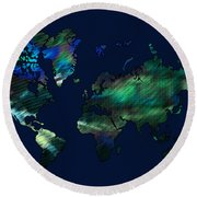 The World In Blues Round Beach Towel