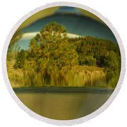 The World In Reflection Round Beach Towel