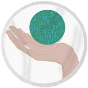 The World In Your Hands Round Beach Towel