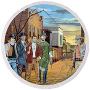 The World Of Classic Westerns Round Beach Towel