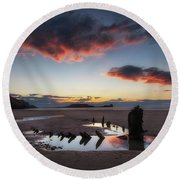 The Wreck Of The Helvetia And Worms Head Round Beach Towel