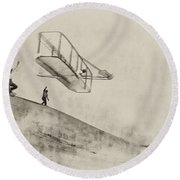 The Wright Brothers At Kittyhawk Round Beach Towel