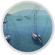 The Yachts Round Beach Towel