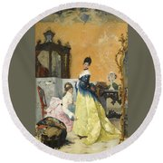 The Yellow Dress Round Beach Towel