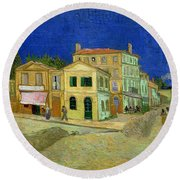 The Yellow House Round Beach Towel by Vincent Van Gogh