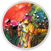 The Yellow River Of The Tour De France Round Beach Towel
