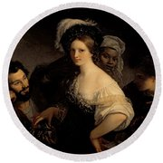 The Young Courtesan Round Beach Towel