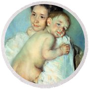 The Young Mother Round Beach Towel by Mary Stevenson Cassatt