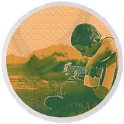 The Young Musician 2 Round Beach Towel