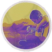 The Young Musician 3 Round Beach Towel