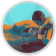 The Young Musician Round Beach Towel