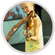 The Young Violinist  Round Beach Towel