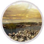 Thea Foss Waterway In Tacoma Washington Round Beach Towel