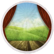 Theater Stage With Red Curtains And Nature Background  Round Beach Towel