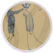 Then Put The Prince A Crown Of Gold On Her Head Round Beach Towel