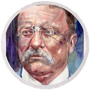 Theodore Roosevelt Watercolor Portrait Round Beach Towel