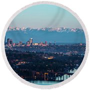 The_olympics_over_seattle Round Beach Towel