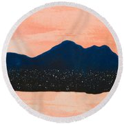 There Are No Mountains In Michigan Round Beach Towel