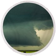 There Be A Nebraska Storm A Brewin 011 Round Beach Towel