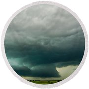 There Be A Nebraska Storm A Brewin 013 Round Beach Towel