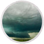 There Be A Nebraska Storm A Brewin 014 Round Beach Towel