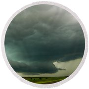 There Be A Nebraska Storm A Brewin 016 Round Beach Towel