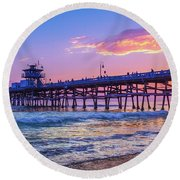 There Will Be Another One - San Clemente Pier Sunset Round Beach Towel