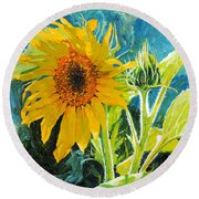 There's A New Bud In Town Round Beach Towel by Chris Steinken