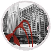 There's A Red Flamingo In Chicago Round Beach Towel