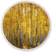 There's Gold In Them Woods  Round Beach Towel