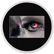 There's Magick In The Eyes Round Beach Towel