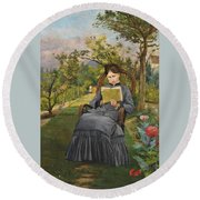 Therese Reading In The Park Of Meric Round Beach Towel