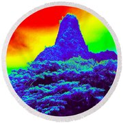 Thermal Face Of Hawaii Round Beach Towel