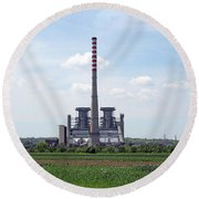Thermal Power Plant On Green Wheat Field Industry Round Beach Towel